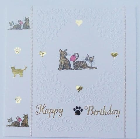 TABBY CAT style two hand made birthday card sent with envelope